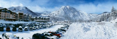 Snow Covered Cars in Parking Lot, Squaw Valley Ski Resort, Lake Tahoe, Placer County, California Photographic Print by Panoramic Images at AllPosters.com