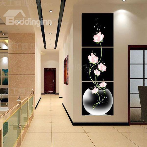 16x16inx3 Panels Pink Flowers In Vase Hanging Canvas Waterproof Eco Friendly Black Framed Prints