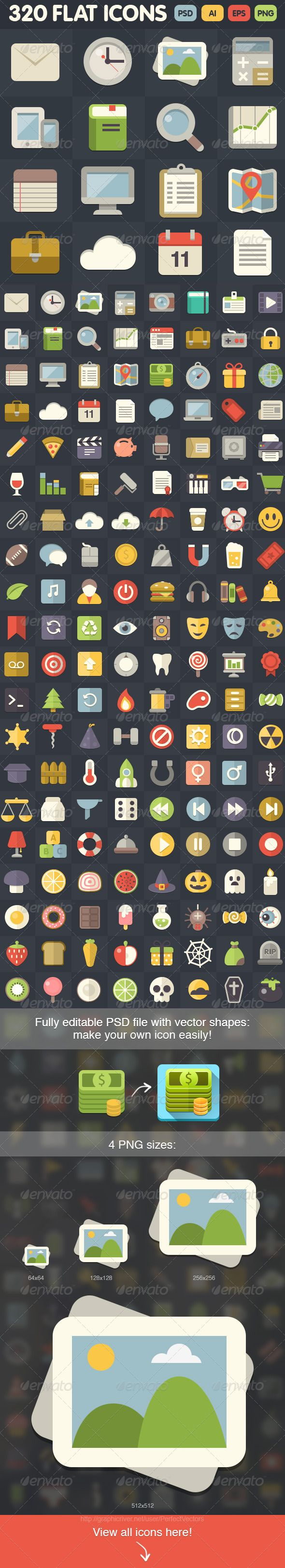 320 Flat Icons — Photoshop PSD #pixel perfect #print • Available here → https://graphicriver.net/item/320-flat-icons/6959638?ref=pxcr