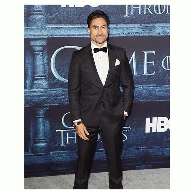 NZ actor Joe Naufahu at the Game of Thrones season launch #WearingWorkingStyle in LA -the Black Pin Dot Suit - follow the link in our bio for a closer look.  Watch Joe make his debut in this season of Game of Thrones later this April.  Looking good @joenaufahu  #workingstylenz #gameofthrones #GOT #got6 #menswear