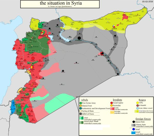 Die derzeitige Situation in Syrien. (Karte: Thomas van Linge)