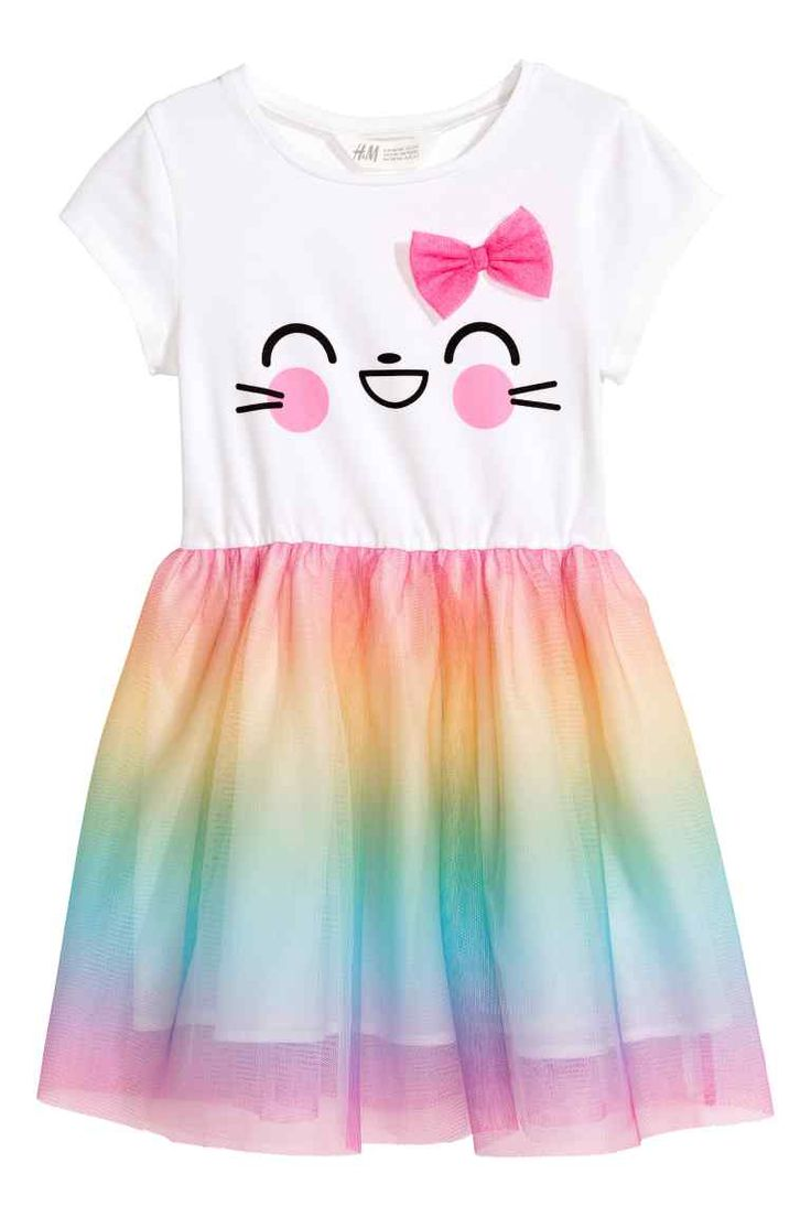 Dress with a tulle skirt - White/Multicoloured - Kids | H&M CA 1