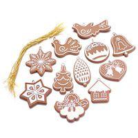 Příslušenství 11ks New Vánoční dům Santa Series přívěsek Drop ozdoby ptáků sněhové vločky, zvonek dekory domácí Decor dárek Party