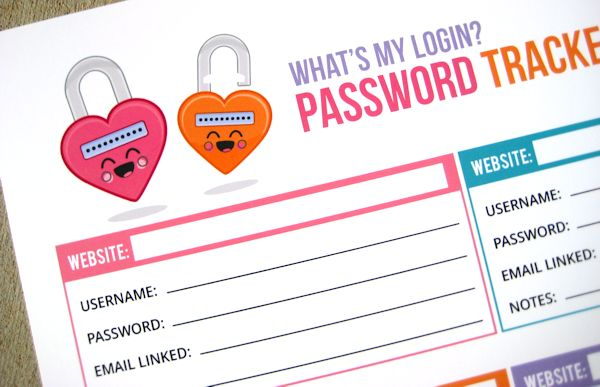 Love this. I am so overwhelmed with passwords right now. Here's a printable sheet to keep track of passwords. And it's adorable, too!