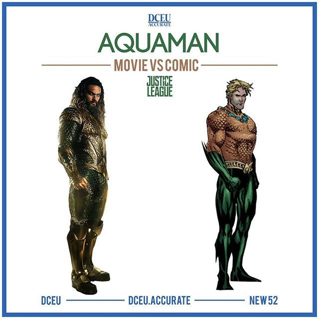 """AQUAMAN - MOVIE VS COMIC For the first post, I knew I had to compare Aquaman's comic and movie version. This is a complete overhaul from the friendly """"Hey there, I talk to fish!"""" guy. Imo, Jason is the best choice for this role and I hope his Aquaman will change the world's perception of the character . I'll be posting more DC comparisons in the comic days so follow and spread the world. Inspired by @accurate.mcu ___ #dc #dccomics #dceu #batman #superman #wonderwoman #aquaman #cyborg #flash…"""