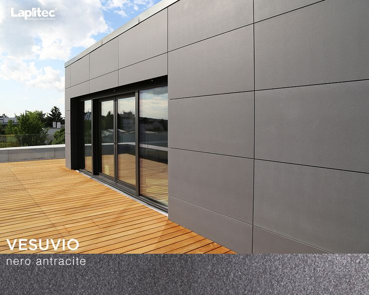 This home achieves its eye-catching look and sleek, modern lines to walls made from Lapitec® Vesuvio in Nero Antracite.