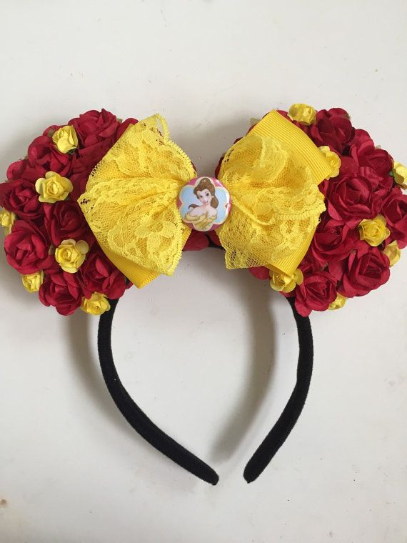 Super cute handmade Princess Belle minnie floral ears with yellow bow. Perfect for a trip to Disneyland!! Check out all my other listings to see