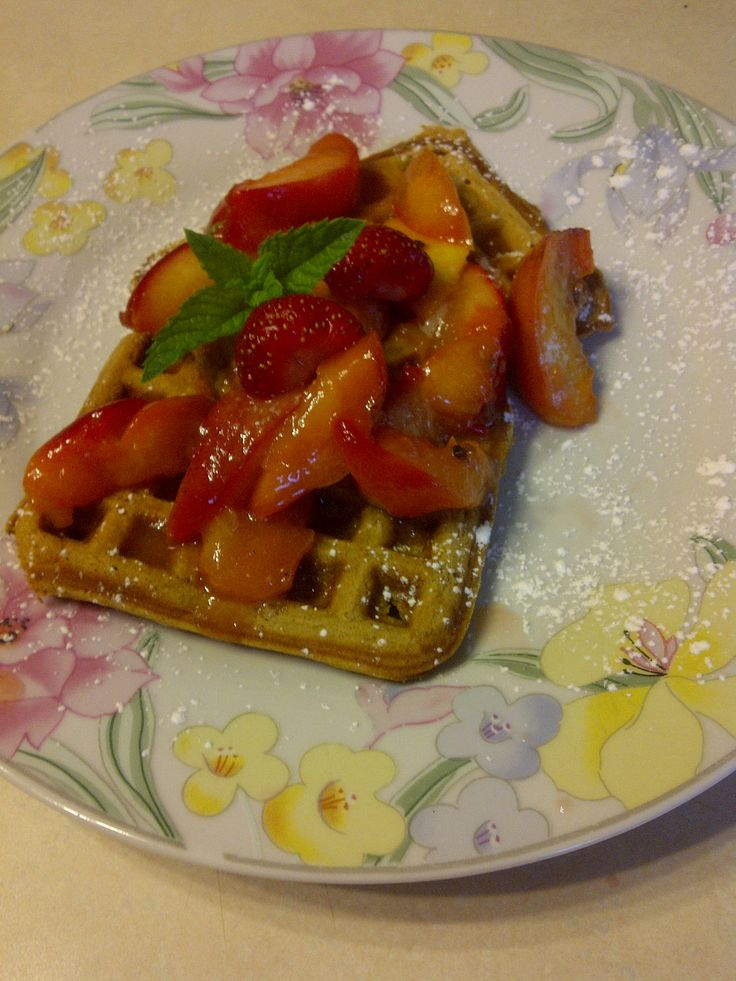 Ginger bread waffles with caramelized strawberries