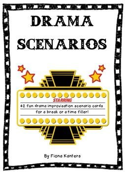 42 fun drama improvisation scenario cards to use when your students need a break or when you need a time filler. Students act out a given scenario in partners. To make the activity longer, students can perform in front of the class and the class can guess what the scenario is.
