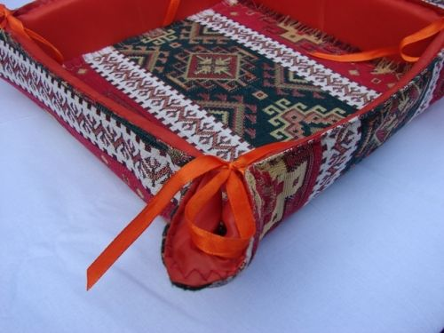Handmade Fabric Storage Baskets : Handmade fabric bread basket folding storage box kitchen