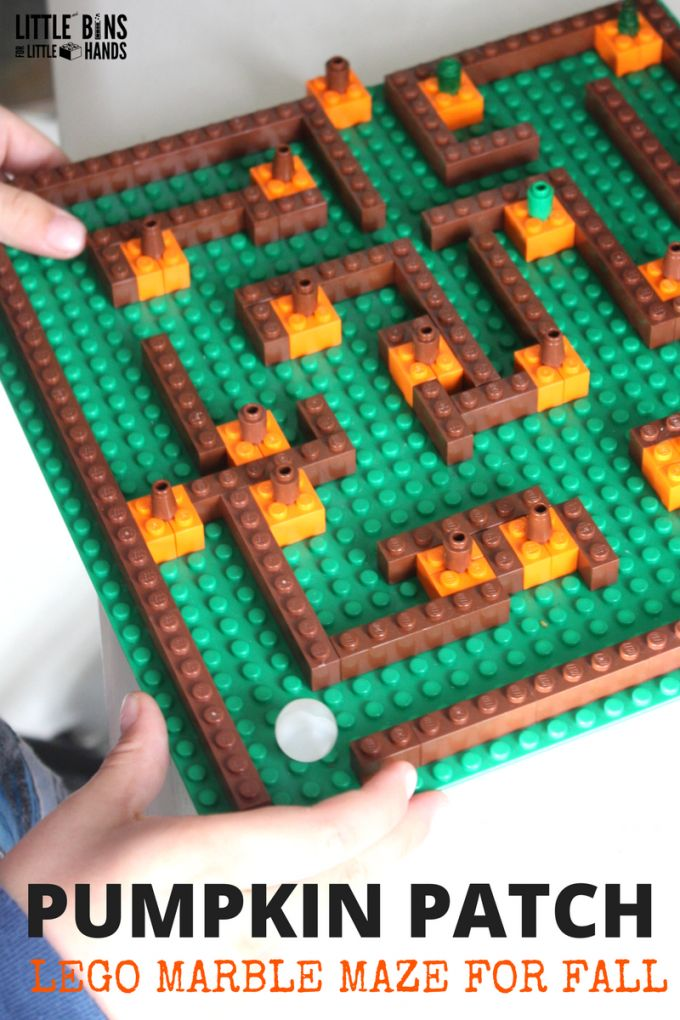 Create your own pumpkin patch LEGO maze for fall STEM. A LEGO marble maze is a great STEM project for kids and a great boredom buster too. Make sure to check our our new book too for tons of cool LEGO learning ideas.