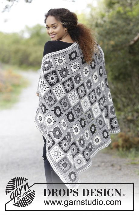 Blanket with crochet squares.  Piece is crocheted in DROPS Puna. Free pattern by DROPS Design.