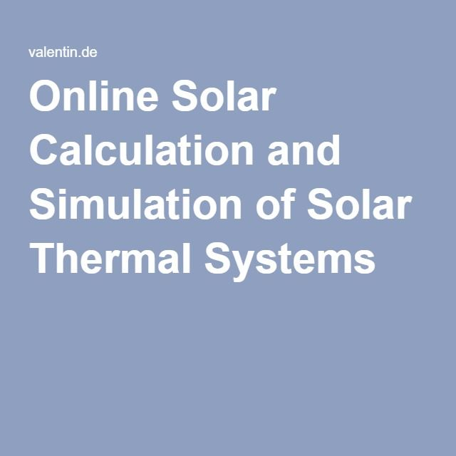 Online Solar Calculation and Simulation of Solar Thermal Systems