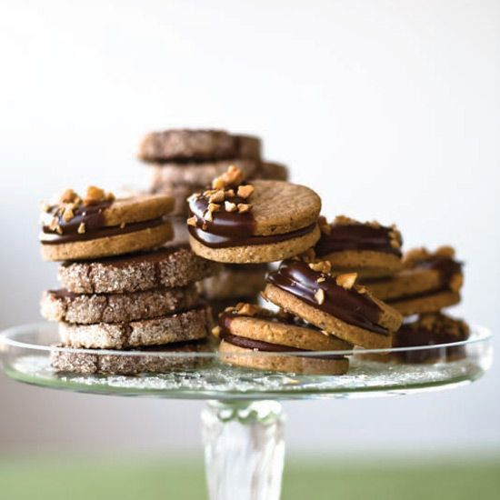 Sugar-Crusted Chocolate Cookies | Chocolate peanut butter cups were the inspiration for these soft and fudgy sandwich cookies.