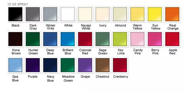 Rustoleum Spray Paint Colors Chart Chart