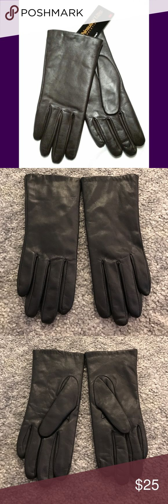 Isotoner womens leather gloves with fleece lining - Isotoner Leather Thinsulate Lined Gloves Size 7 5