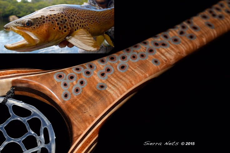 A custom curly Maple trout-themed fly fishing net inspired by an epic fish the client photographed.