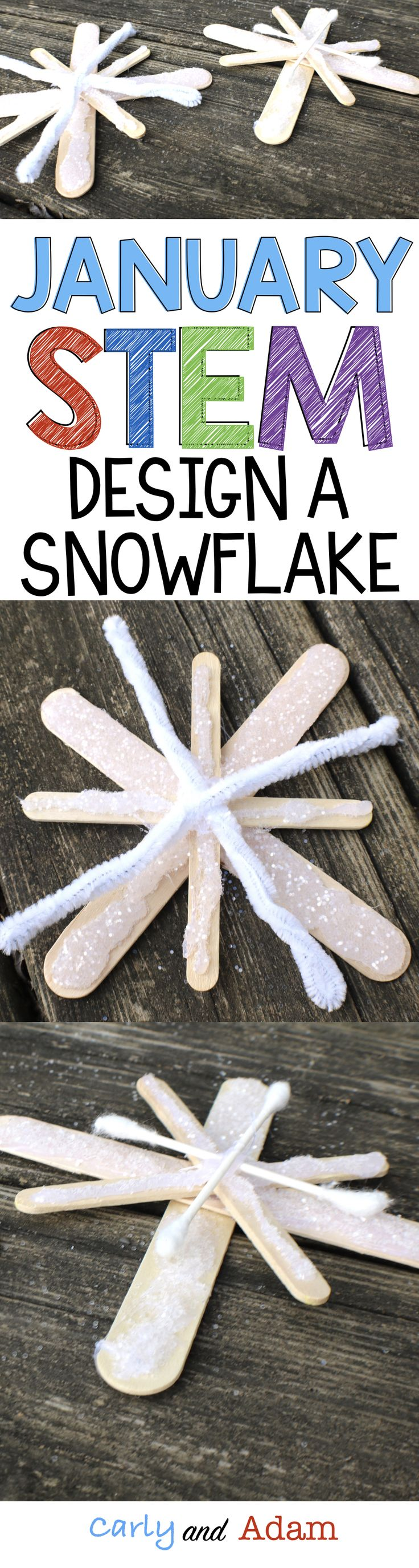 For this January winter themed STEM activity students design a symmetrical snowflake. (winter STEM)