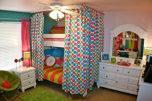 seriously genius! curtain rods around bed..doing this for the master with some grown up style!!!