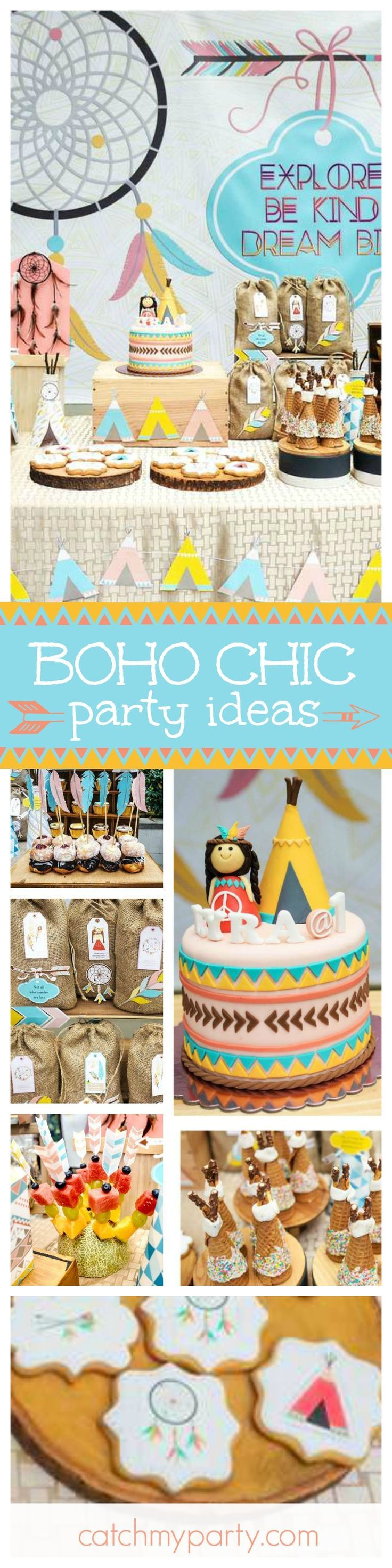 Get ready to be blown away with this fantastic Boho Chic Birthday Party. The birthday cake is amazing!! See more party ideas and share yours at http://CatchMyParty.com