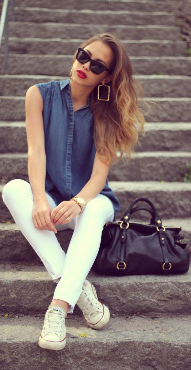 Colored Skinny Jeans, Denim Blouse