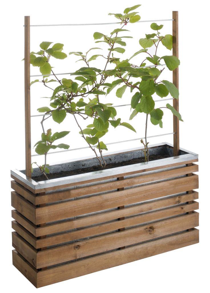 Superior Pot En Bois Exterieur #6: Jardinière En Bois Plante Grimpante