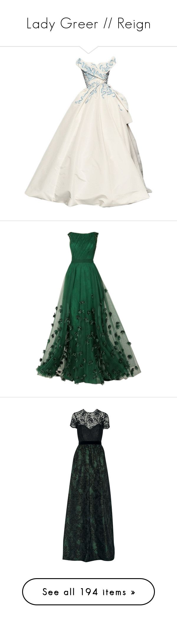 """Lady Greer // Reign"" by ashton-kate ❤ liked on Polyvore featuring Reign, LadyGreer, dresses, gowns, long dresses, vestidos, couture dresses, green gown, tony ward dresses and green dress"