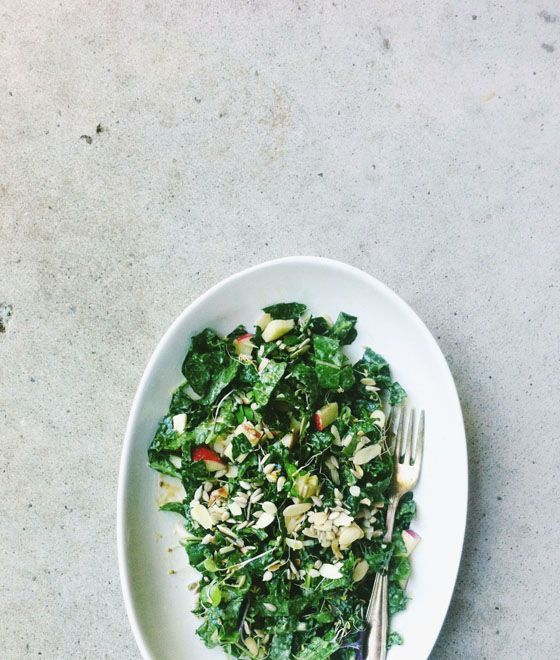 Seedy, nutty kale and apple salad w/ miso tahini dressin. | Vegan, dairy free, gluten free, paleo, and vegetarian. | Click for healthy recipe. | Via Seven Spoons