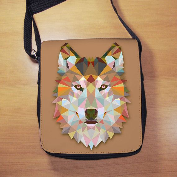 Geometric Wolf Shoulder Bag  Triangle Wolf  Low by RegalosOnline