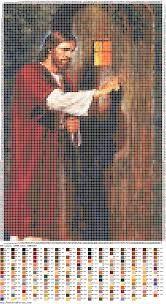 Jesus Cristo à porta gráfico ponto cruz