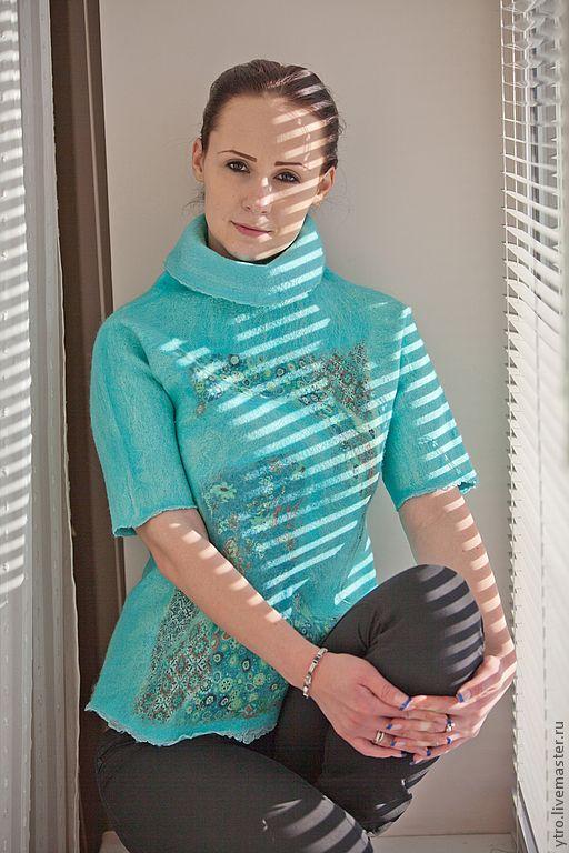 """Купить Валяный гольф """"В стиле Густава Климта"""". - бирюзовый, свитер женский, валяный"""