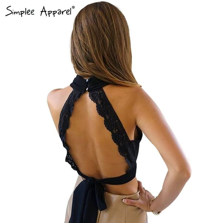 Simplee Apparel Summer 2016 sexy backless black lace women tank top Girls high neck elegant halter tops Party cute bow crop top