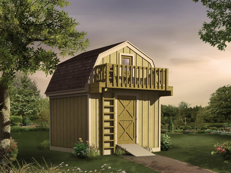 Simple, cute, functional, yet fun....and no design involved...very tempting.....Sellersville Shed Storage shed with playhouse loft has an outdoor ladder that leads to a second story balcony from houseplansandmore.com