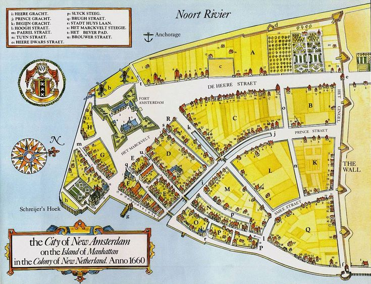 Map of New Amsterdam (later to be known as Manhattan NY)