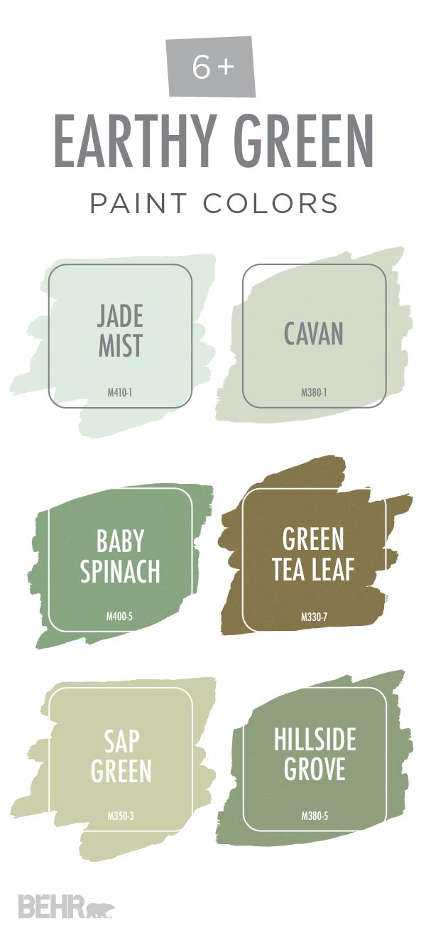 This earthy green color palette from BEHR is full of soothing natural colors. Explore light colors like Jade Mist and Cavan or choose between deep olives like Baby Spinach and Hillside Grove. These earth-toned hues are perfect for creating a modern yet rustic look in your home.