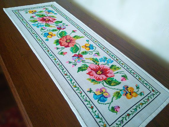 Embroidered kitchen table runner Decoration table cover Flowers Rectangle tablecloth Country cottage style Farmhouse dining Hemstitch Dinner It can be used as decoration for the living room, a napkin on the table, chest of drawers, the kitchen. Perfect for wedding or anniversary presents. These napkins are suitable for your any party, family dinner or holiday or as hostess gifts. They are really special things to have. CONDITION - new, never used Length: 27.76in (70.5 cm) Width: 10.14in…