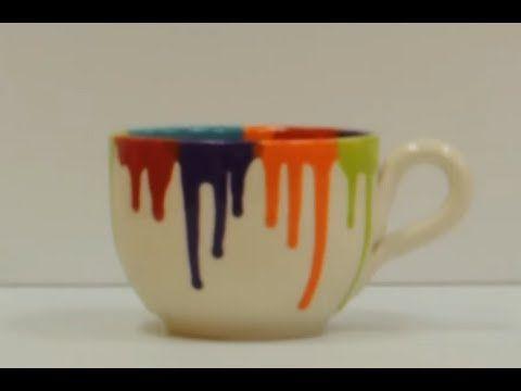 Crock a doodle pottery painting technique drip mug for Clay pot painting techniques