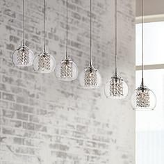 "Contemporary Condo Office Lighting, Lamps Plus, Possini Euro Encircled Crystal 48 1/4""W Multi Light Pendant"