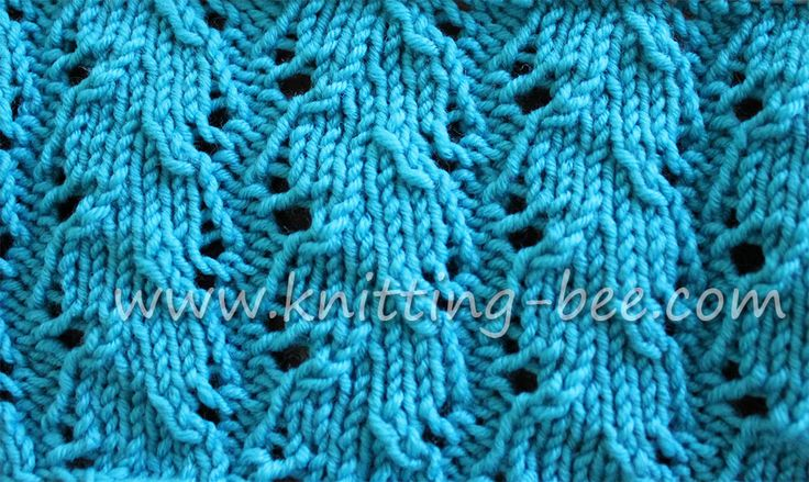 Free Ribbed Lace Knitting Stitch by Knitting Bee www.knitting-bee.com Free ...