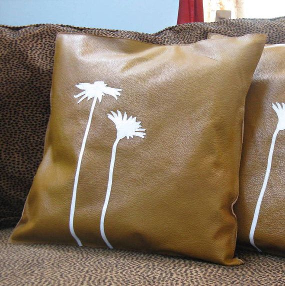 decorative home decor square leather pillows flower applique nature inspired