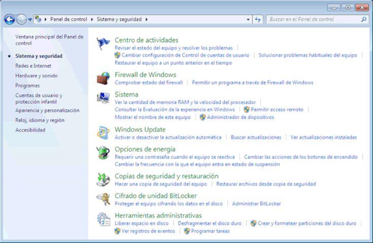 Qué Es El Panel De Control De Windows 7 Y Qué Hay En él Sistema Y Seguridad Panel Control Windows