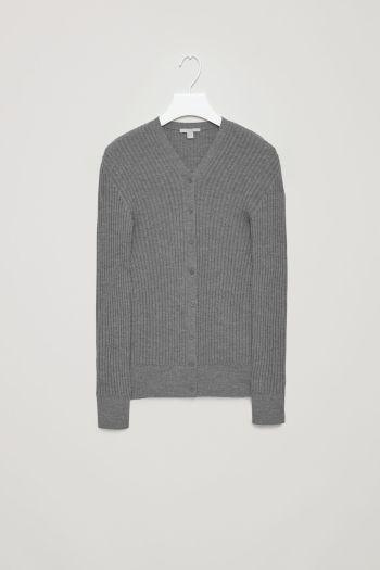 COS image 2 of Ribbed merino-wool cardigan in Grey