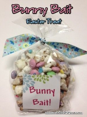 Funfetti Popcorn {Bunny Bait} Ingredients: 1/2 cup unpopped popcorn kernels, or 2 bags tender white popcorn 12 oz. melting white chocolate or almond bark 2 cups pretzels 2 cups Rice 1 12 oz. bag plain Milk Chocolate M&Ms Multicolored Sprinkles – I used pastel colored ones.