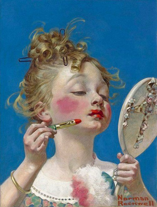 Norman Rockwell Little Girl with Lipstick. 1922. See the influence Leyndecker had on him when he was a young illustrator.