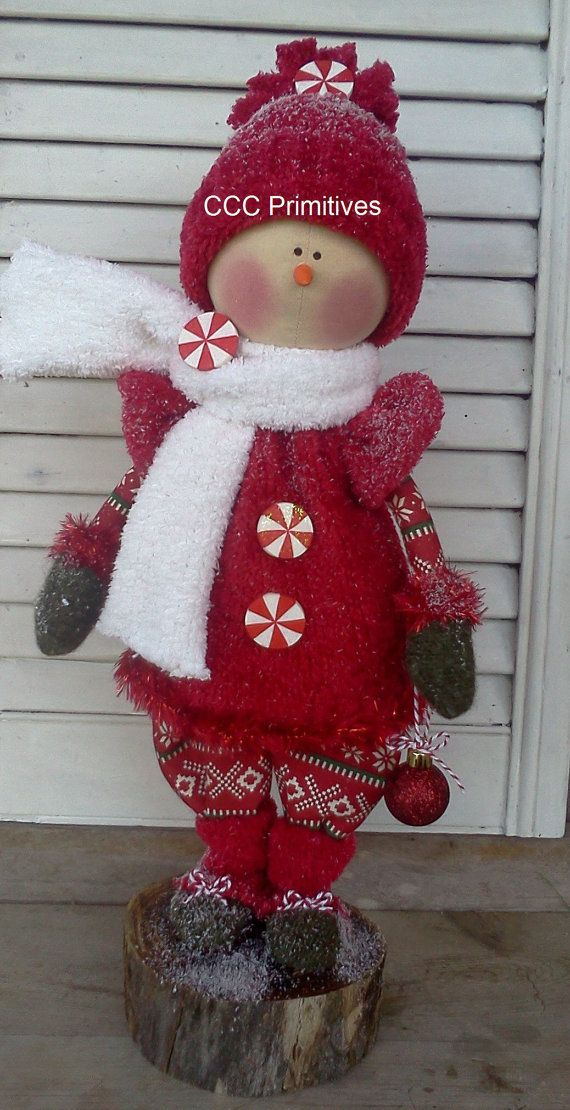Handmade Primitive Christmas Snowman Snowgirl - Primitive Snowman - Winter Snow Girl - Handcrafted Snowman - One Of A Kind Snow Girl