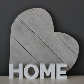 "Woord ""HOME"" Hout Wit | Woonaccessoires | Puur & Mooi wonen"