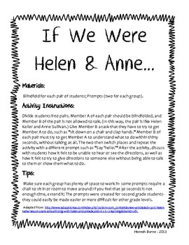 If We Were Helen Amp Anne Helen Keller Activity