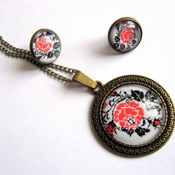 Set bijuterii femei motive populare romanesti flori - idei cadouri - pandantiv, cercei si bratara reglabila - flori rosii.