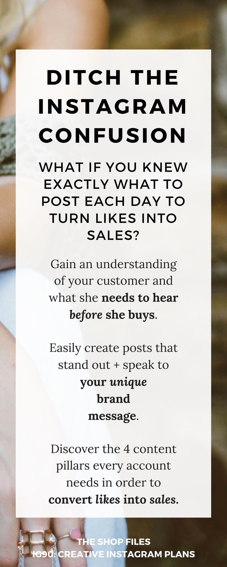 Ditch the Instagram confusion! Learn exactly what to post each day to turn Instagram likes into SALES. How to sell on Instagram | How to use Instagram to drive sales | How to use Instagram to sell on Etsy and grow your shop sales | Grow your Instagram followers
