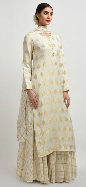 Ivory Banarasi Handwoven Zari And Sequin Embroidered Sharara Suit